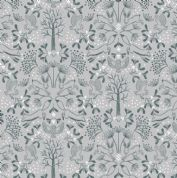 Lewis & Irene - Winter in Bluebell Wood - 6692 -  Animals, Charcoal on Grey - C44.2 - Cotton Fabric